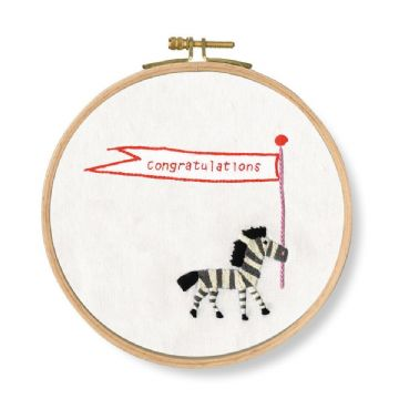 DMC Printed Embroidery Kit- CONGRATULATIONS ! ZEBRA ?, TB130